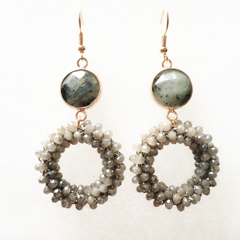 Dongmu jewellery new Bohemian crystal long earrings unique natural traditional crafts woven large earrings jewelry gifts women