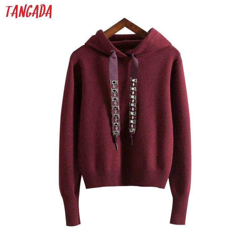 Tangada New Arrival Beading Hooded Sweaters Pullovers Fashion Woman Sweater Women Pullover Ladies Short Jumper Pull Femme RY45