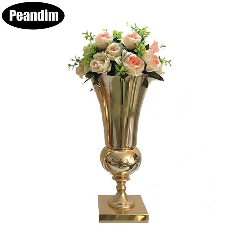 Porte-Vase de table en or avec Vase à fleurs en métal, décorations de mariage, décoration romantique pour la maison, 43 cm de hauteur, porte-fleurs 10 pcs/lot