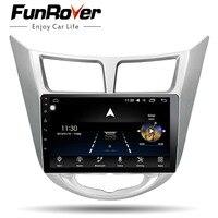 Funrover 8 core Android 8.0 2 din Car DVD GPS for Hyundai Solaris Verna 2011 2012 2014 2015 2016 radio tape recorder wifi usb FM