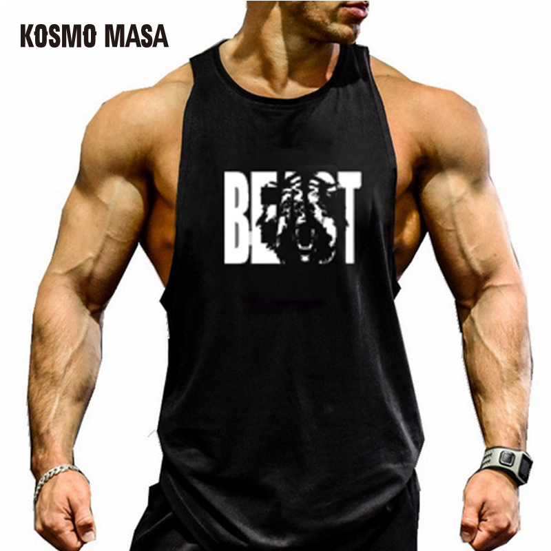 KOSMO MASA 2018 Cotton O-Neck   Tank     Top   For Men Summer Sleeveless Solid Shirt Bodybuilding Fitness Stringer Vest   Tank     Tops   MC0301