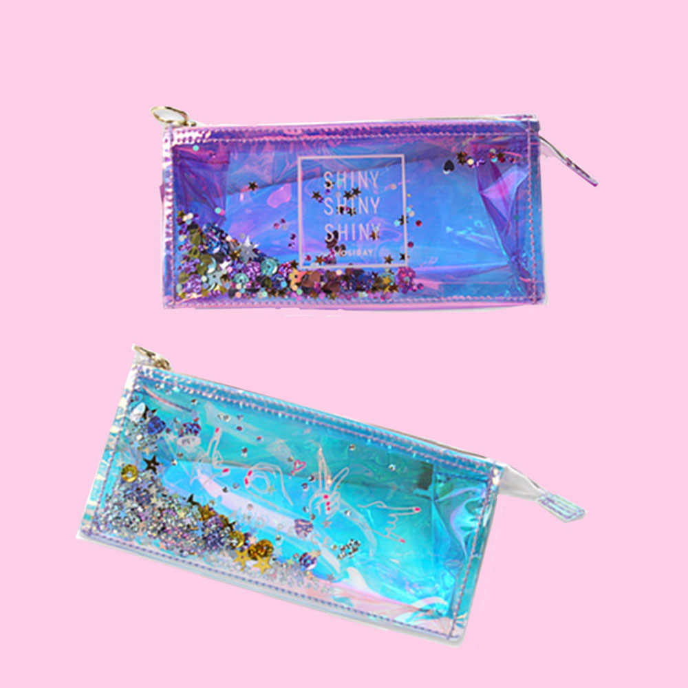 1PC Transparent Cool Pencil Case Super Shiny Laser PVC Pencils Bags High Quality Stationery Pouch Office School Supplies