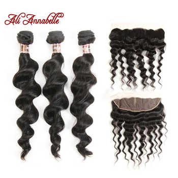 ALI ANNABELLE HAIR Brazilian Loose Wave With Lace Frontal 3 Bundles Brazilian Human Hair with Closure 100% Remy Hair - DISCOUNT ITEM  40% OFF All Category