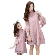 Lace mother daughter dresses horn sleeve matching mother daughter dress clothes fashion family look outfits