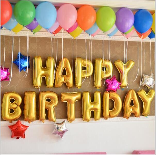 13pcslot letter happy birthday balloon aluminum foil balloon baby birthday party decoration alphabet helium balloon