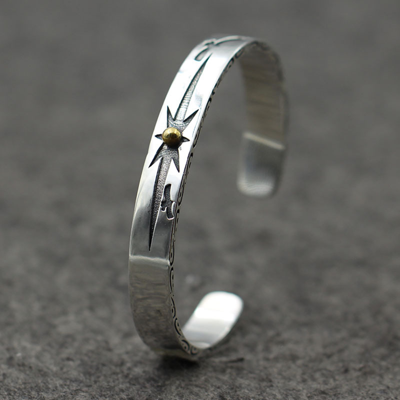 Bangles Takahashi Individual Indian Wind Solar Point Open Bracelet Taiyin Old Bird Ring Pure Silver 925 Terrific Value