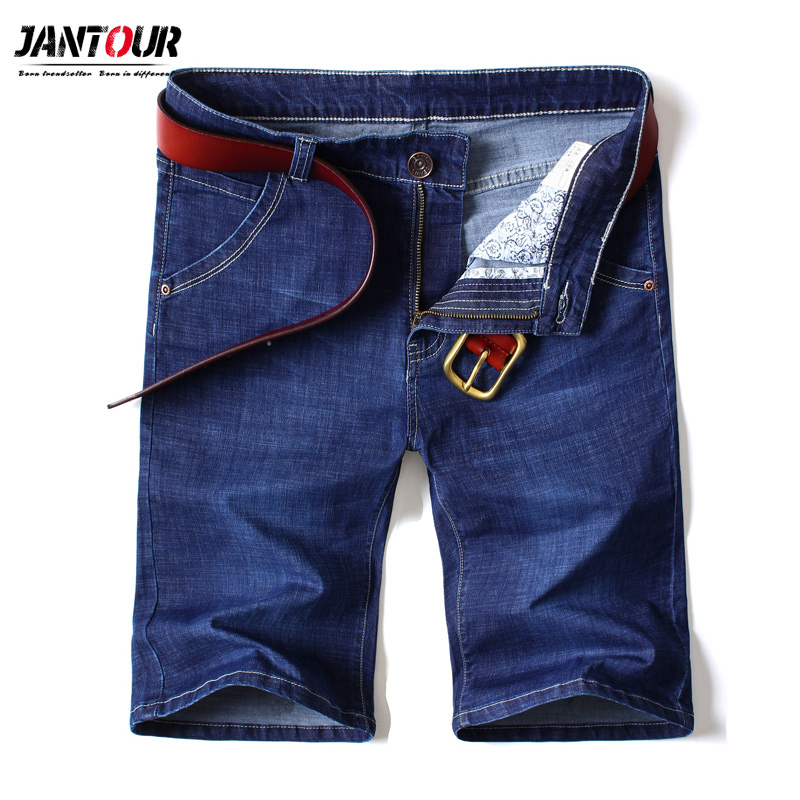 Summer Brand Stretch Thin high quality cotton Denim Jeans male Short Men Knee Length Soft blue casual Shorts Plus Size 28-46