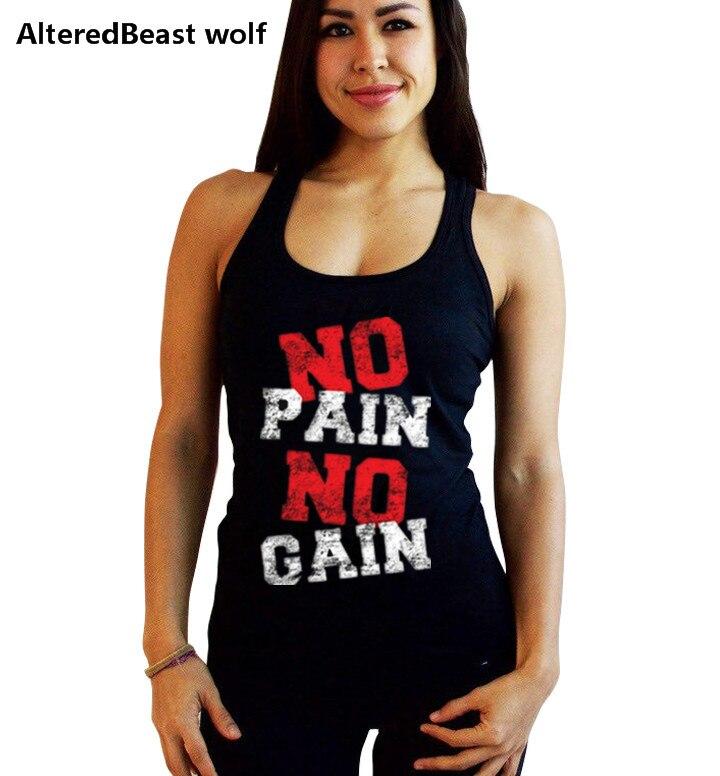 2018 Women Bodybuilding Tank Tops NO PAIN NO GAIN print Women Fitness cotton Sleeveless Shirt summer Women Tops Vest Stringer
