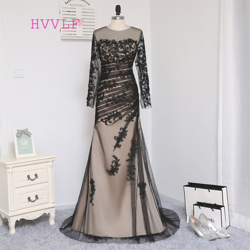 HVVLF Black Elegant Evening Dresses 2019 Mermaid Tulle Satin Appliques Lace Backless Long Evening Gown Prom Dress Prom Gown