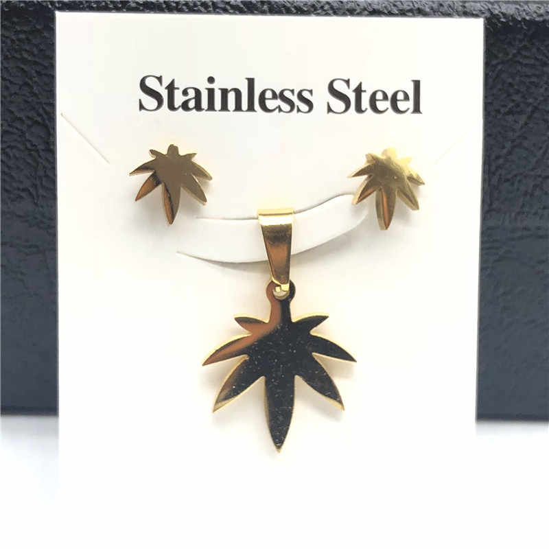 Stainless Steel Jewelry Sets For Women Moon Star Pendant Necklacae Stud Earrings Fashion Jewelry Gift Collares Mujer
