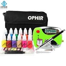 OPHIR 0.3mm Nail Art ชุด Airbrush คอมเพรสเซอร์ 12 สีหมึก 20 Airbrushing Stencils & กระเป๋าและทำความสะอาดแปรงเล็บชุดเครื่องมือ