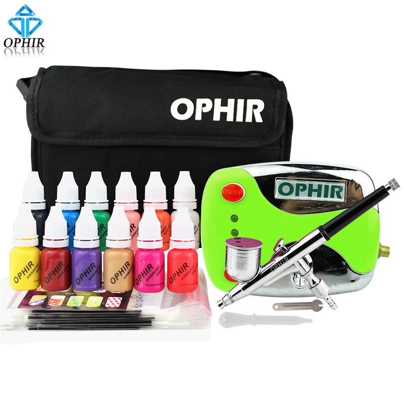 OPHIR 0.3mm Nail Art Airbrush Kit with Air Compressor 12 Color Inks 20 Airbrushing Stencils & Bag & Cleaning Brush Nail Tool Set цены