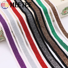 10Meters 2cm Gold Silver Knitting Stripe Webbing Sport Pants Cloth Elastic Band Stretching Lace Ribbons DIY Garments Accessories