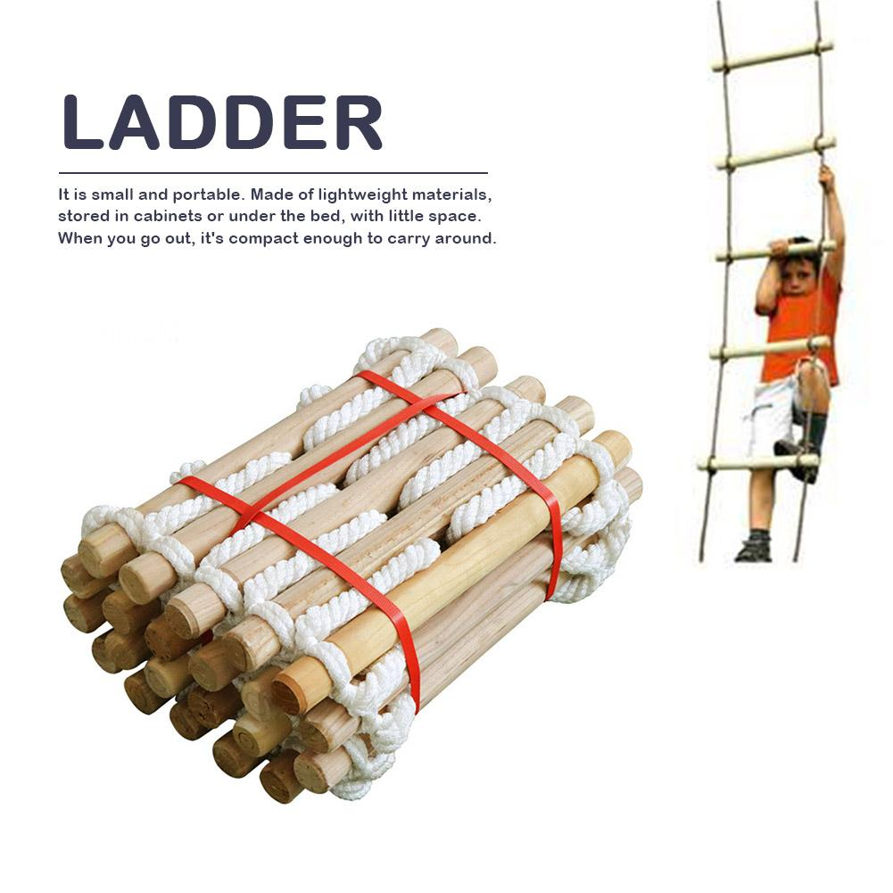 3M 5M Wooden Rungs Rope Ladder Outdoor Tent Rope Soft Steps Round Nylon Soft Escape Ladder Escape Fire Rescue Home Climbing