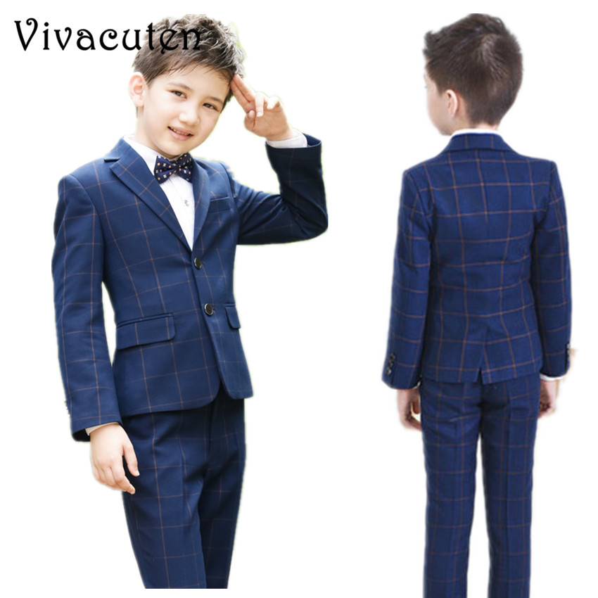Boys Jackets Shirts Pant Tie 4pcs Clothing Set Suits For Wedding Kids Prom Clothes Boy Costume Dress Suits Plaid Blazer F091 4pcs plaid