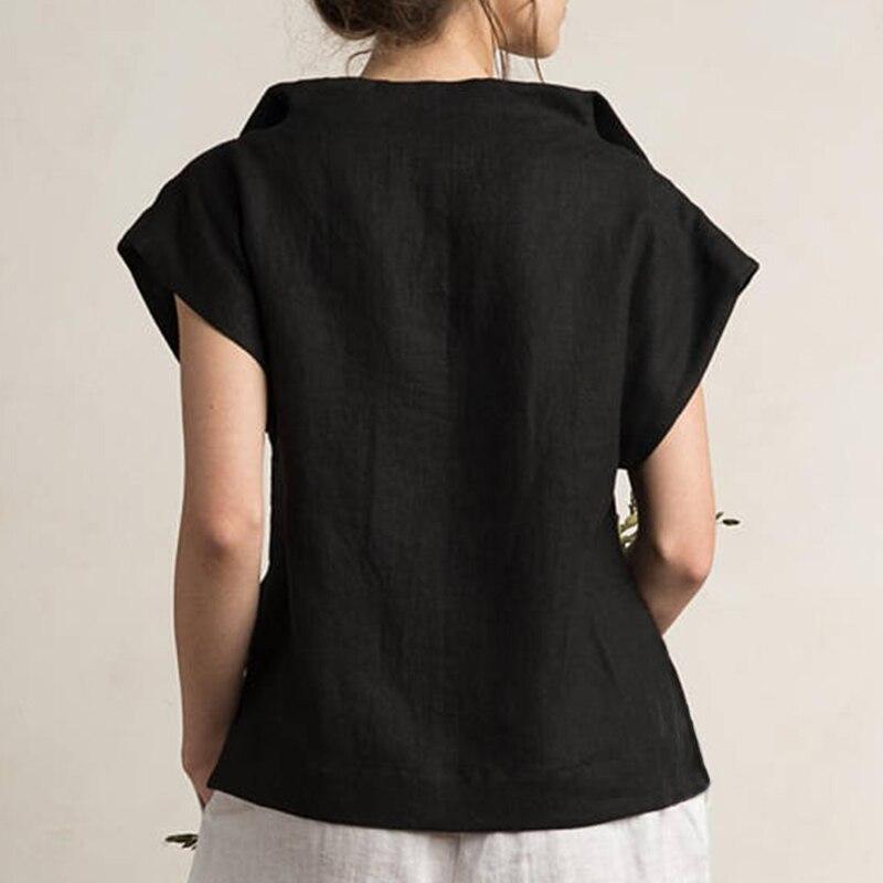 Celmia Women Vintage Linen Tops Plus Size Blouses 19 Summer V Neck Short Sleeve Shirts Casual Tunic Female Blusas Femininas 16
