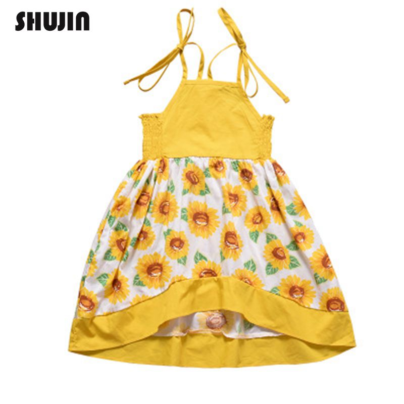 e0fe307f0ba6c86 Shujin От 1 до 6 лет Детские платья на бретельках для девочек летняя  детская одежда платье для маленьких девочек без рукавов с цветочным принтом.
