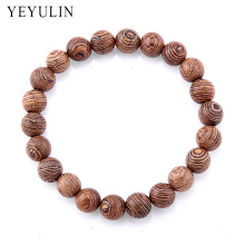 Trendy Popular 8mm Wenge Wood Beads Bracelet For Women Men wooden Bangles Jewelry Gift