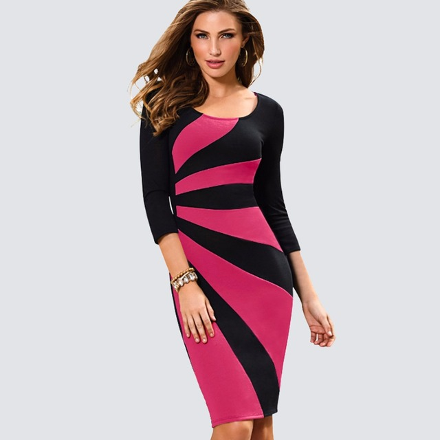 Women Casual Wear To Work Office Business Patchwork Bodycon Dress Elegant  Colorblock Contrast Sheath Fitted Pencil Dress HB390 5b846162706f