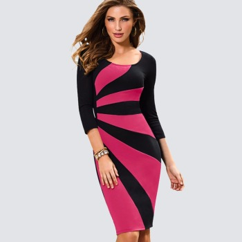 17859b3a8e9 Read More Women Casual Wear To Work Office Business Patchwork Bodycon Dress  Elegant Colorblock Contrast Sheath Fitted Pencil Dress HB390