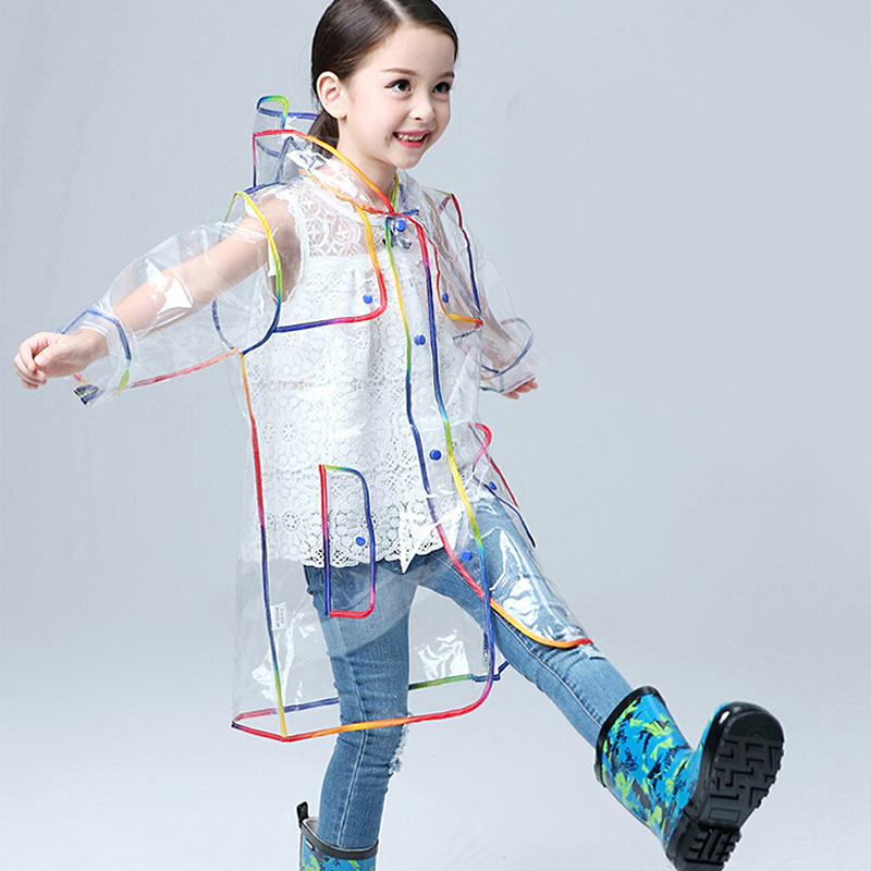 Children Raincoat EVA Transparent Clear Rainwear Hooded Outdoor Touring Rain Coat handbag