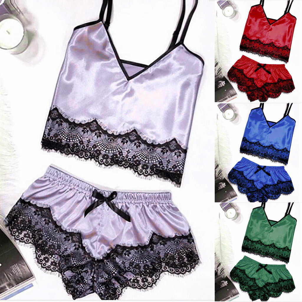 2e6ab62f1437a Женская пижама, кружевные шорты, комплект из двух предметов, Женская  Сексуальная атласная пижама на