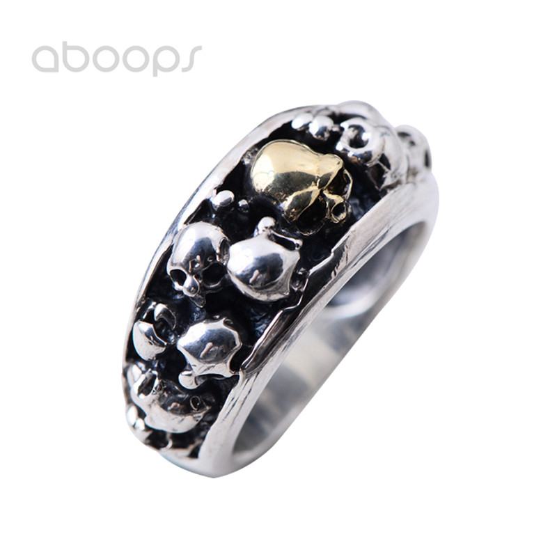Punk Two Tone Sterling Silver Multi Skull Heads Ring for Men Women Size 8 9 10 11 11.5 Free Shipping цена