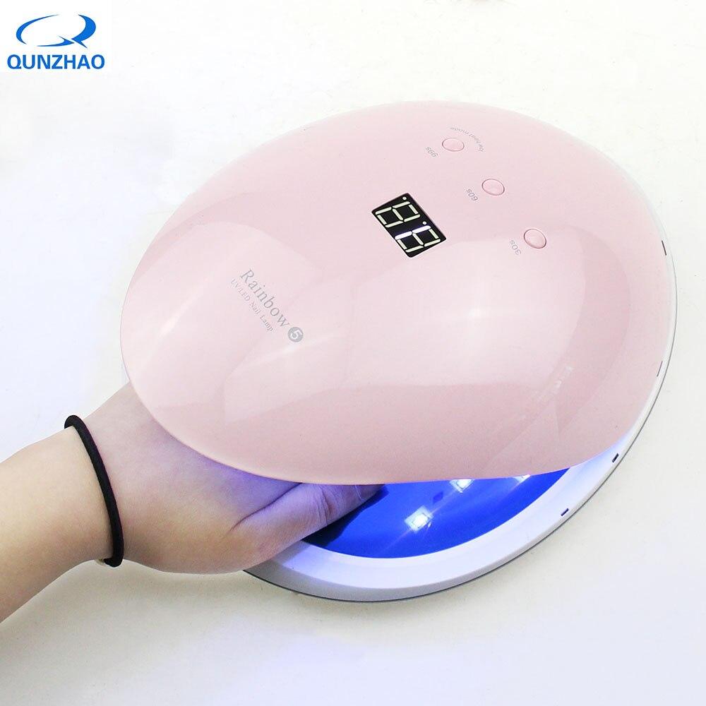 Розовый Rainbow5 красота 48 Вт Сушилка для ногтей 365 + 405nm УФ светодиодная лампа для гель лака Led ультрафиолетовый lam с умным датчиком