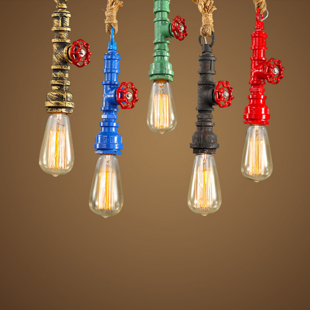 Retro vintage rope water pipe pendant lights industrial for Hanging light bulbs diy