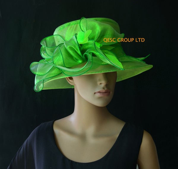 Green-organza-hat-Kentucky-Derby-hyyyat-with-feathers-for-wedding-races-party-church-