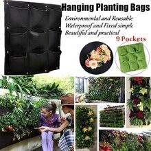 9 карманное Вертикальное Озеленение подвесной, настенный, садовый посадочный мешок настенный плантатор