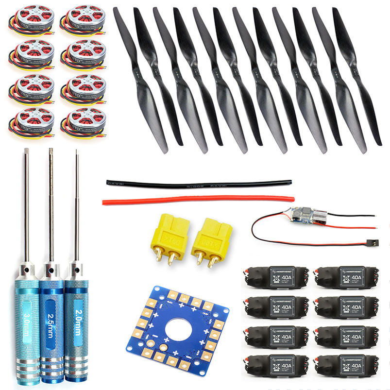 8-Axis Foldable Rack RC Helicopter Kit KK Connection Board+350KV Brushless Disk Motor+15x5.5 Propeller+40A ESC F05423-C 4set lot universal rc quadcopter part kit 1045 propeller 1pair hp 30a brushless esc a2212 1000kv outrunner brushless motor