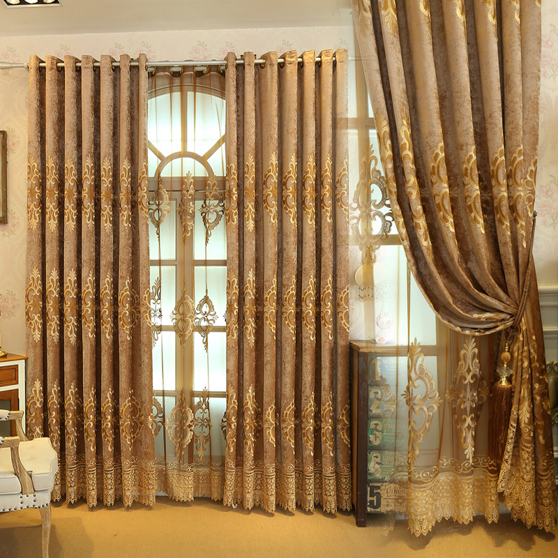 2017 The New Pop Chenille Embroidery Elegant Curtains For Living Room Dining Bedroom Curtain