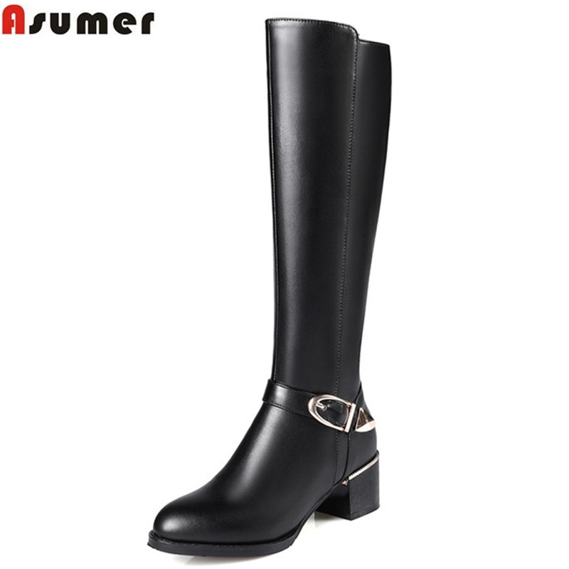 ASUMER fashion new arrive women boots black zipper buckle high quality pu+genuine leather knee high boots square heels цены