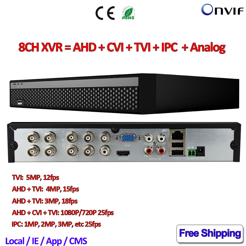 8ch 1080p dvr Network 5in1 NVR for AHD CVI TVI IP 960H Camera ONVIF CCTV XVR for 5MP TVI camera 4MP 3MP 2MP AHD Camera Security