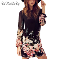 DeRuiLaDy Women Casual Dress For Womens Fashion Office Dresses Multicolor Floral Print Long Sleeve Chiffon Dress