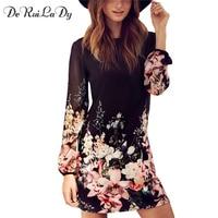 DeRuiLaDy Women Casual Dress For Womens Fashion Office Dresses Multicolor Floral Print Long Sleeve Chiffon Dress