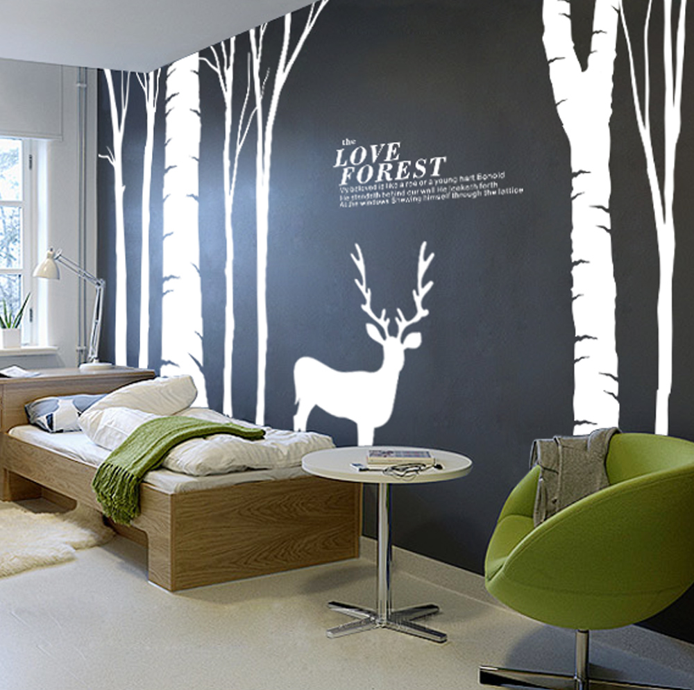 Large Birds Birch Tree Buck Wall Stickers, Forest Wall Decal Home Decor Decoration Wts008