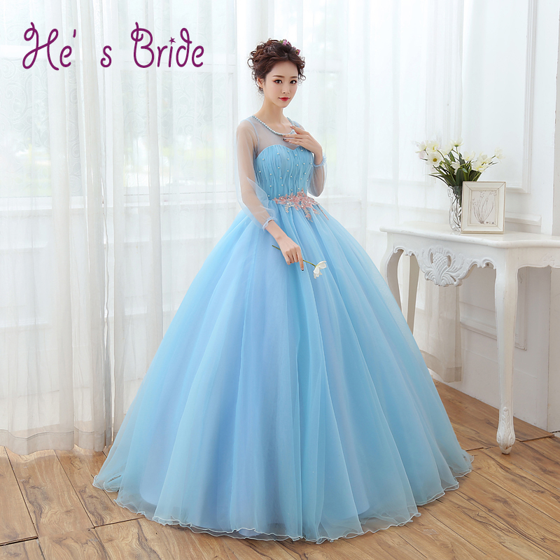 Prom Dress  Light Blue Scoop Neck 3/4 Sleeved Evening Party Dress Long Formal Robe De Soiree Floor length Prom Ball Gown-in Evening Dresses from Weddings & Events    1