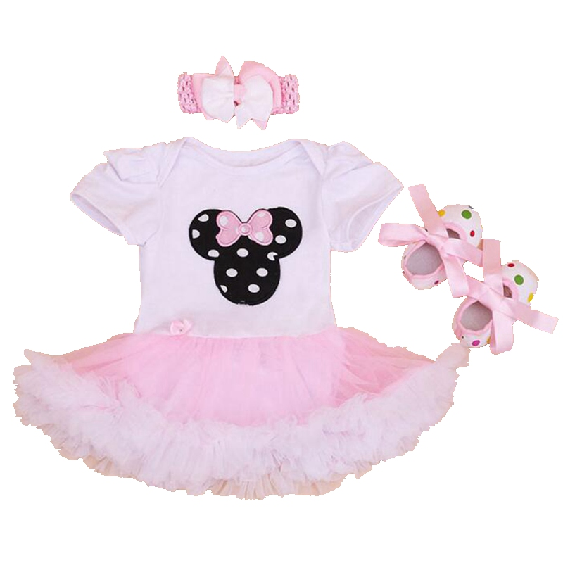 Minnie Head Baby Girl Lace Petti Rompers Party Dresses Crib Shoes Headband 3PCS Newborn Tutu Sets Girls Clothes Infant Clothing