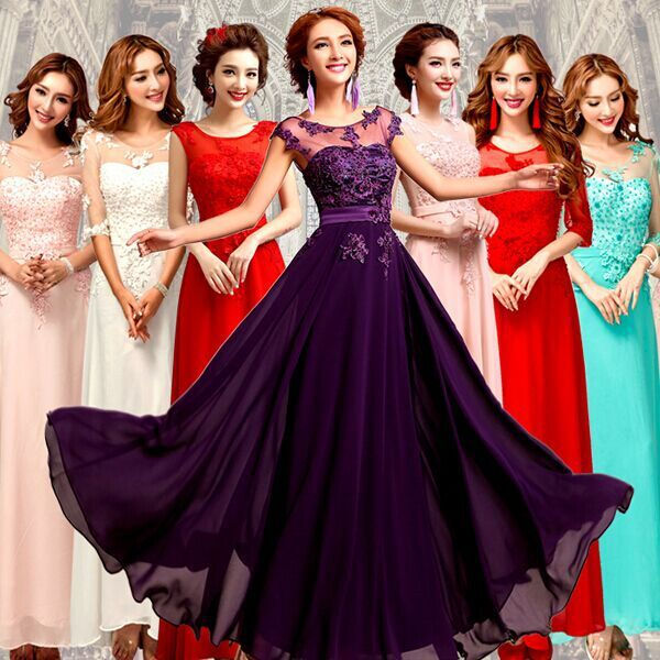 2017 Long Bridesmaid Dress Red Purple Blue Pink White Lace To Wedding Party Maid
