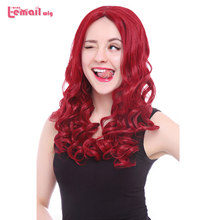L-email wig Long Red Curly Lace Front Wigs 22inch Long Hair Wig Women Hair Heat Resistant Synthetic Hair Perucas(China)