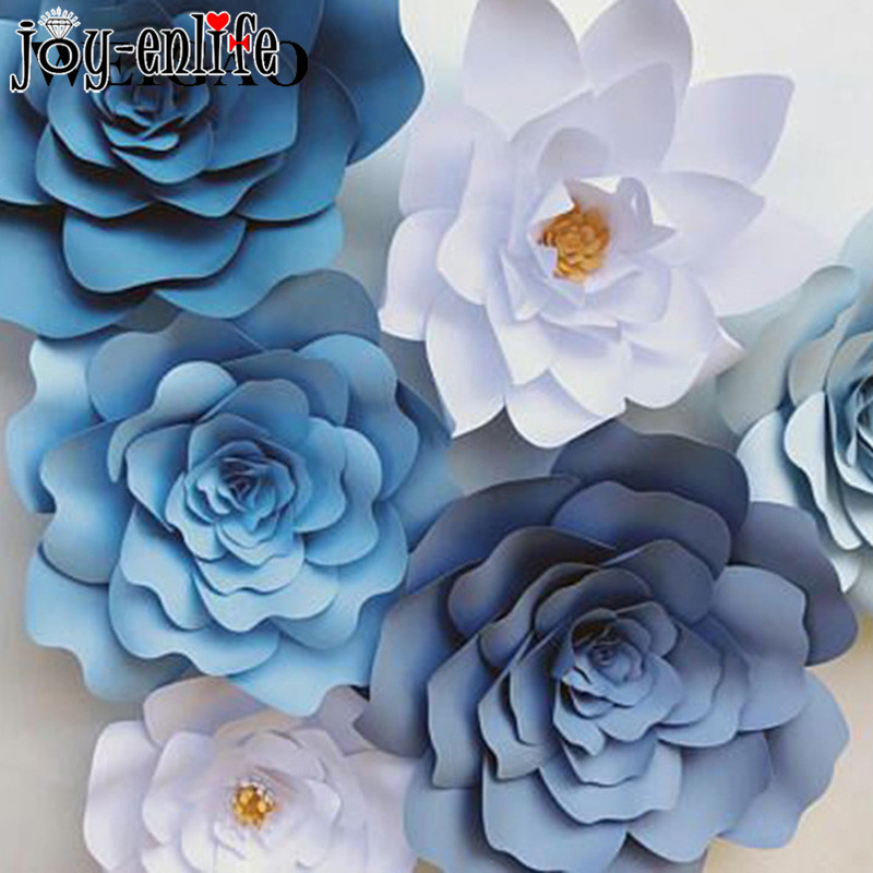 2pcs 20cm DIY Crafts Paper Flowers Wedding Decoration Artificial Rose Flowers Birthday Party Valentine's Day Backdrop Decor