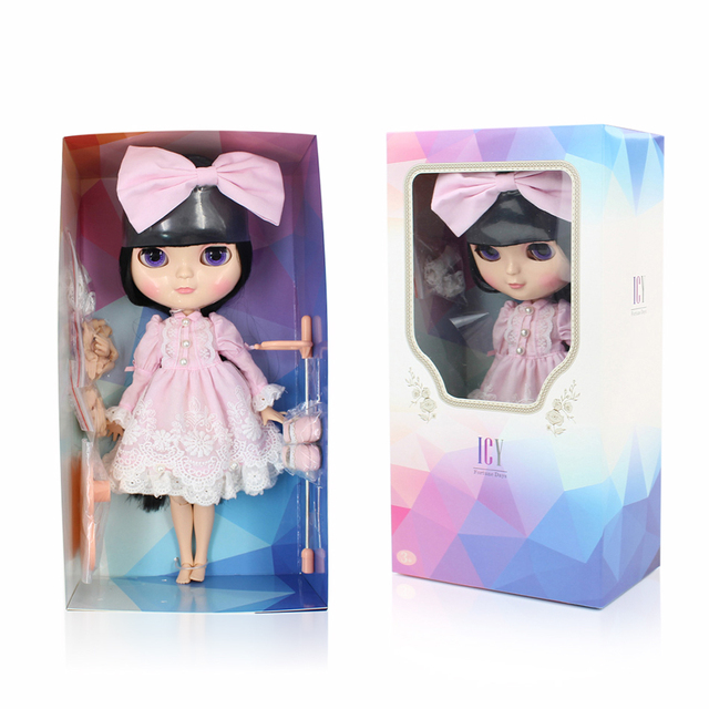 Fortune Days New ICY DBSDoll Azone Joint Body Small Chest Black Straight Hair Full Set Clothes, Shoes, Hand Set and Stand BL9601