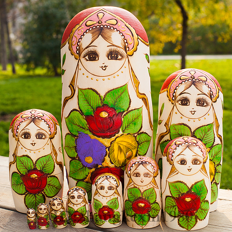Children Education Toys Hand Carved Matryoshka Dolls 10pcs/set Wooden Russian Nesting Dolls Traditional Matryoshka Dolls