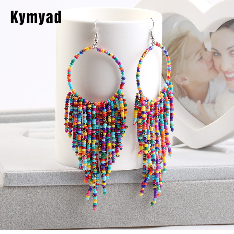 Kymyad Bohemian Multicolor Beads Tassel Earrings For Women Handmade Boho Ear Vintage Jewelry Long Big Statement Earrings 2019