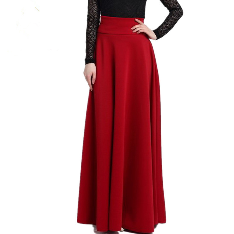 5XL Plus Size Skirt High Waisted Skirts Womens Solid color polar skirt Bottoms Pleated Skirt Red black 2019 Summe C0838