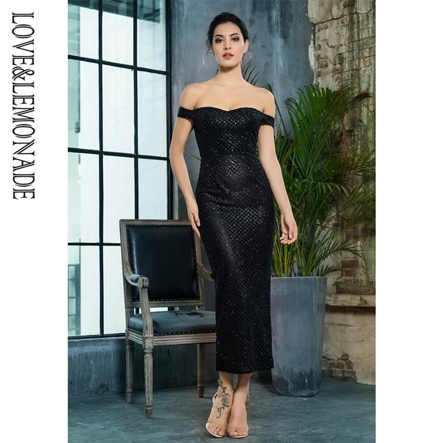 Love Lemonade Black Off the Shoulder Open Back Plating Glue Material Party  Dress LM81349BLACK b7235121ba00