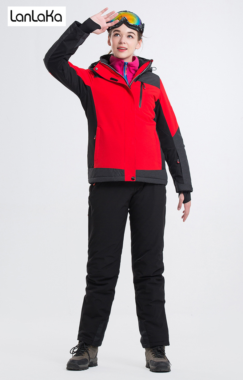 LANLAKA Brand Women Ski Set Hot Sale High Quality Winter Jacket New Arrival 7 Color Optional Warm Skiing Snow Ski Suits female