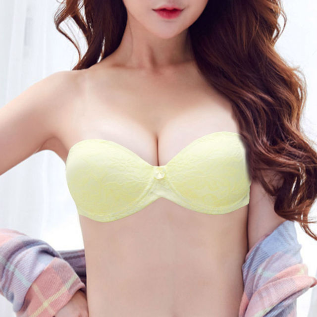 21a38533341 Vogue Secret Charms Ladies Bra Strapless lace bralette Padded Push Up  underwear Women Sexy Half big cup bra Lingerie backless